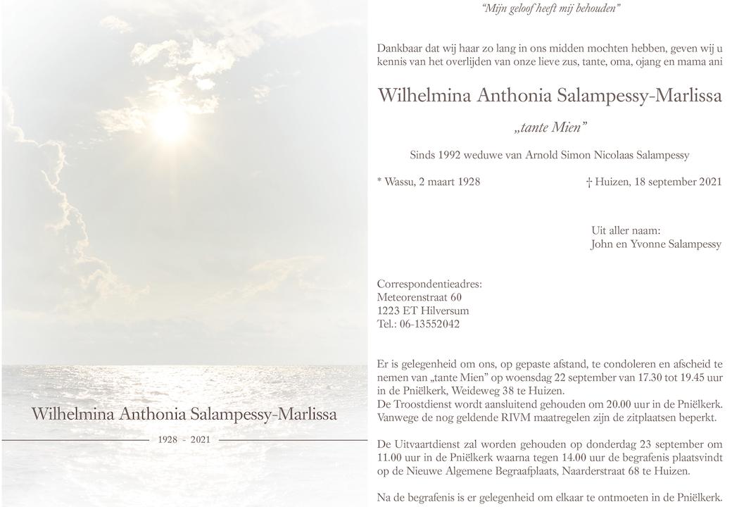 Overlijdensbericht Mevr. Wilhelmina Anthonia Salampessy-Marlissa